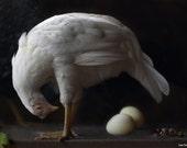 Fine Art Photography of a White Hen