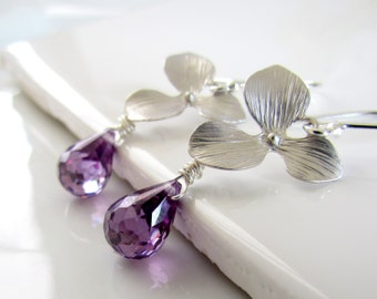 Orchid Earrings, Amethyst Cubic Zirconia Earrings, Flower Dangle Earrings, Sterling Silver, Purple Bridesmaids Earrings, CZ
