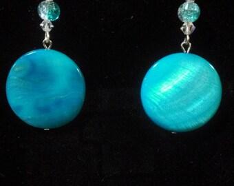 Aqua Shell Circular Dangle Earrings