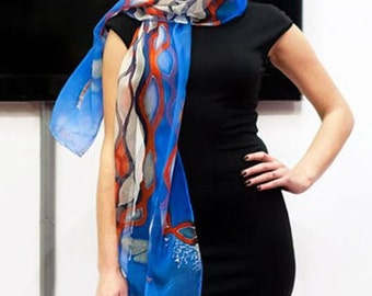 Hand painted blue Silk scarf with dragonflies