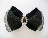 SALE - Vintage 80s Black Bow Pin - Black Tie Affair
