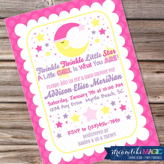 Printable Baby Shower Invitation-Twinkle Twinkle Little Girl