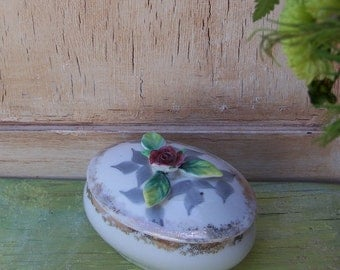 Botanical Floral Jewelry Dish,Trinket Jar, Ring Dish
