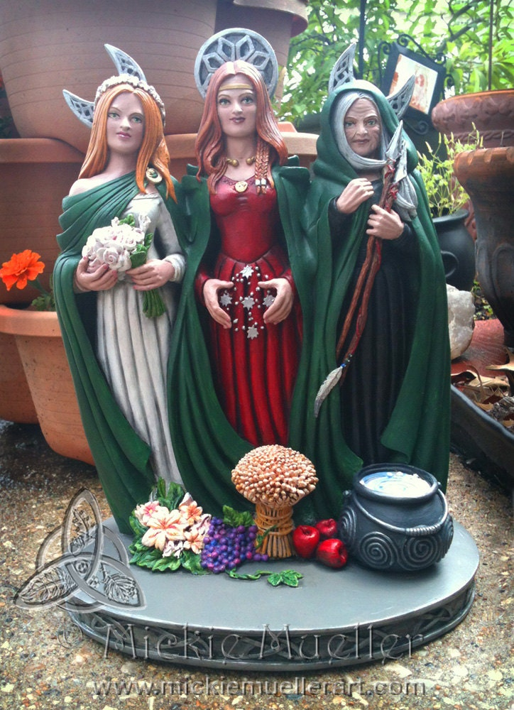 triple goddess statue hand painted by mickie mueller