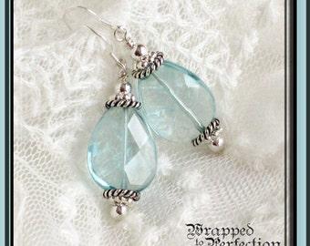 Aqua Teardrop Earrings / Light Cyan / Large Dangle / Briolette / Quartz / Aqua and Silver Beach Jewelry