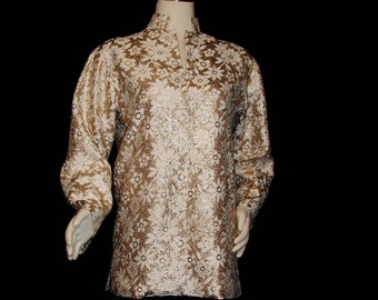 Blouse - Tunic - Hippie Chic Circa 1960's - Cocktail - SPARKLY Gold Brocade - M/L