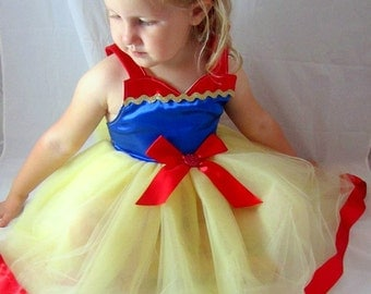 Snow White Dress: pretty princess red blue yellow lined with sparkle ric rak, easy on and off, costume birthday or vacation, adjustable