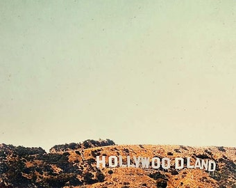 Hollywoodland Sign, Retro, Travel, California Print, Los Angeles Photography, Mint, Brown, Hollywood, Neutral Wall Art