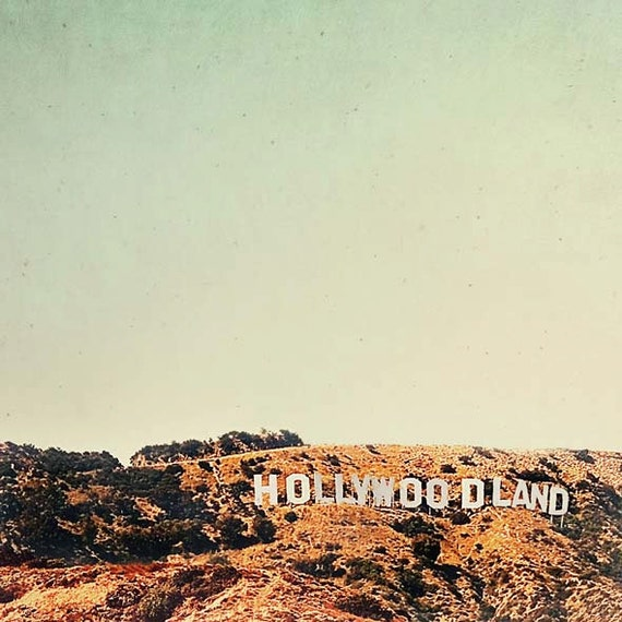 Hollywoodland Sign, Mint, Brown, Travel Photography, Retro, California Print, Hollywood, Los Angeles Print, 1940s