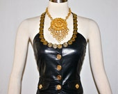 MOSCHINO Vintage Bustier Black Leather Gold Coin Cutout Halter Corset - AUTHENTIC -