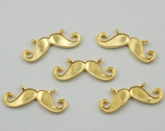 5 pcs.Zinc Gold Mustache Charms Pendants Decorations Findings 28 mm. MUT G28 RC