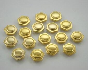 50 pcs.Gold Hexagon Rivets Studs Buttons Decorations Findings 12 mm. HX G12 1250 DH