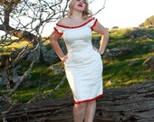 Custom Couture Marilyn Monroe WIggle Dress in Cotton Sateen with Pom Pom Trim Made to Order