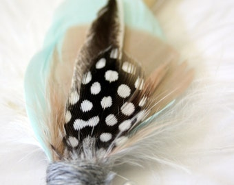 ADLER  Feather Boutonniere in Mint, Blush, Champagne and Grey