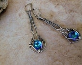sterling silver  aqua swarovski crystal earrings