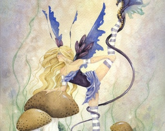 Fairy Art Watercolor Print - Grace and Her Dragon - fantasy. fairy art. pretty. purple. whimsical. for her. amethyst.