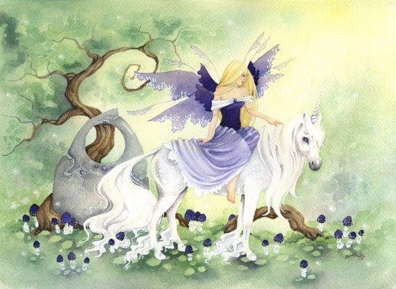 Her Unicorn - Fairy Art Original Watercolor Painting - 9x12 - fantasy.unicorn. equine. princess. purple. lavender. lovely. girl. fairy tale.
