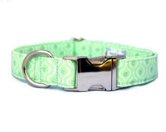 Mint Green Geometric Patterned Dog Collar