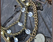 Chunky Brass Chain and Lucite Bib Statement Necklace and Earrings