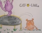 "Cat Art / ""Cat - O - Line"" Trampoline / Watercolor Pencil Original"