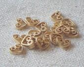 Tiny Bright Brass Heart Connector, Charm (18) Minimalist, Deco