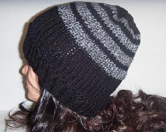 Black and Grey Mens Knit Hat, Knit Hat, Mens Beanie, Black Striped Hat
