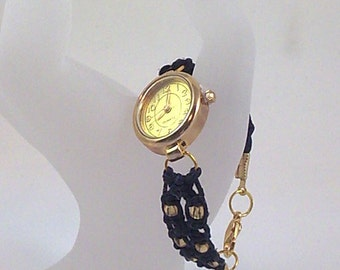 Black Hemp Watch with Gold Oval Face and Gold Glass Beads
