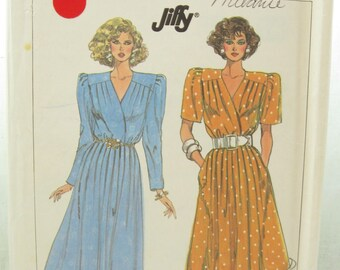 Simplicity 7940 1980s Dress Sewing Pattern Bust 42 Jiffy Sewing Pattern