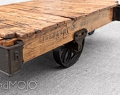 Vintage Industrial Factory Cart Coffee Table - in stock - apartment cabin den furniture - brandMOJOinteriors
