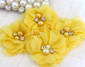 NEW: 4 pcs Aubrey BRIGHT YELLOW - Soft Chiffon with pearls and rhinestones Mesh Layered Small Fabric Flowers, Hair accessories
