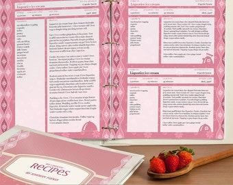 Recipe Binder Printable Pages, Editable PDF, for Letter Paper, Instant Download