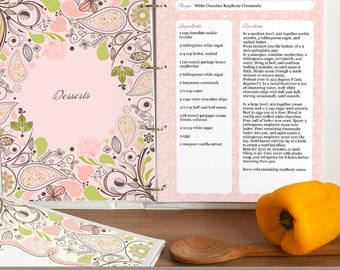 Recipe Binder Printable Pages, Paisley Design, Cover Page, Recipe Sheets, Dividers, Spine Inserts & Recipe Index