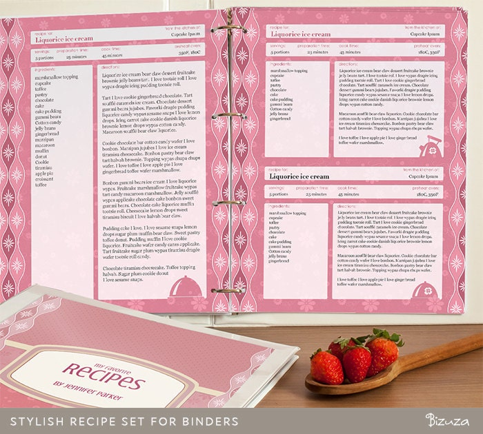 Recipe binder set printable recipe pages binder cover and for Free recipe templates for binders