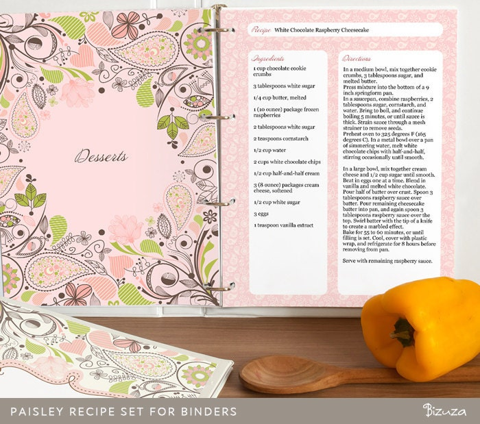 Recipe Binder Printable Pages Paisley Design Cover Page