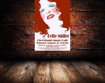 Bette Midler 1972 Cleveland Concert Poster