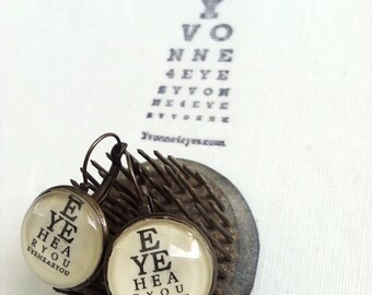 Eye Chart Earrings.Eye Hear You Eye Chart.Eye Chart Earrings.Eye Chart.Wearable Eye Chart.Vision.Site.Optometrist.Gift Under 20. Yvonne4eyes