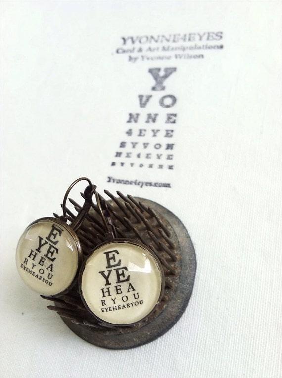 Eye Chart Earrings.Eye Hear You Eye Chart.Eye Chart Earrings.Eye Chart.Wearable Eye Chart.Vision.Site.Optometrist.Gift Under 20. Yvonne4eyes
