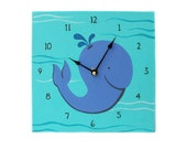 Children's Clock - Custom Hand Painted Kids Wall Clock - Ocean Whale or Any Room Decor Theme