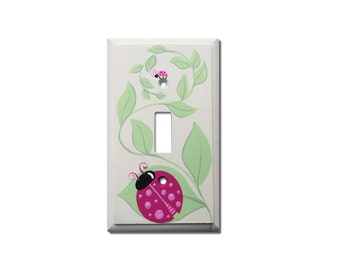 Switch Plate - Custom Hand Painted Wooden Light Switch or Electrical Cover Plate Garden Lady Bug Theme