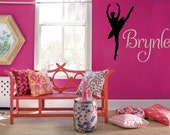"""BIG Ballet Dancer Personalized Name 38""""l x 46""""h Vinyl Wall Lettering Words Quotes Decals Art Custom"""