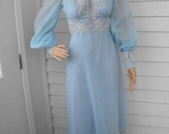 70s Blue Prairie Dress Corset Vintage XS XXS Boho Lace Long Full
