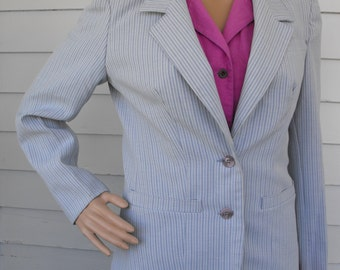 Striped Jacket Blazer Vintage 70s Sears Blue Career Business S M