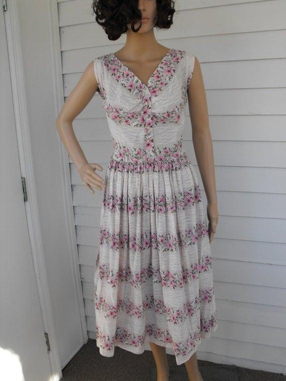 Vintage 50s Dress Floral Print Pink White Doris Dodson XS S 36 Bust