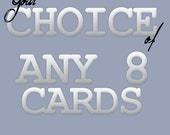 Blank Notecards Set of Eight - Custom Choice Block Printed Cards