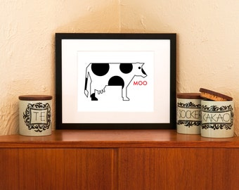 MOO Cow - Dairylicious Art Print on 100% Recycled Paper (Free Shipping in US)