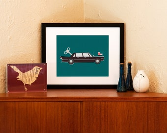 Diplomatic Immunity - Wind Up Toy Car Art Print - 100% Recycled Paper (Free Shipping in US)
