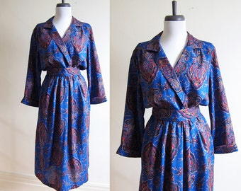 Vintage 1980s Dress / Royal Blue PAISLEY Wrap Dress / Size Medium or Large