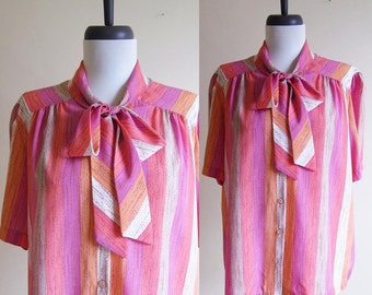 Vintage 1970s Blouse / Ice Cream Sherbet Striped Pussy BOW Blouse / Size Large or XL