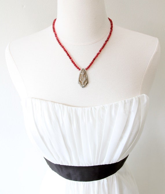 Ruby Red Love. Necklace with Vintage 1920s Rhinestone Clip.