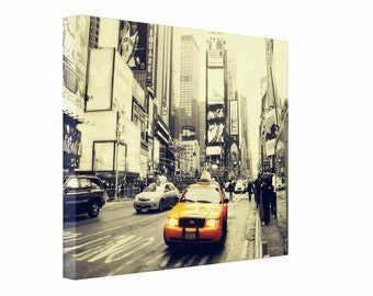 New York Times Square Yellow Cab Photography Print on Canvas 16x20